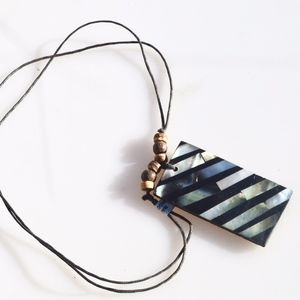 Other - Mother of Pearl Wood Pendant Necklace Dog Tag